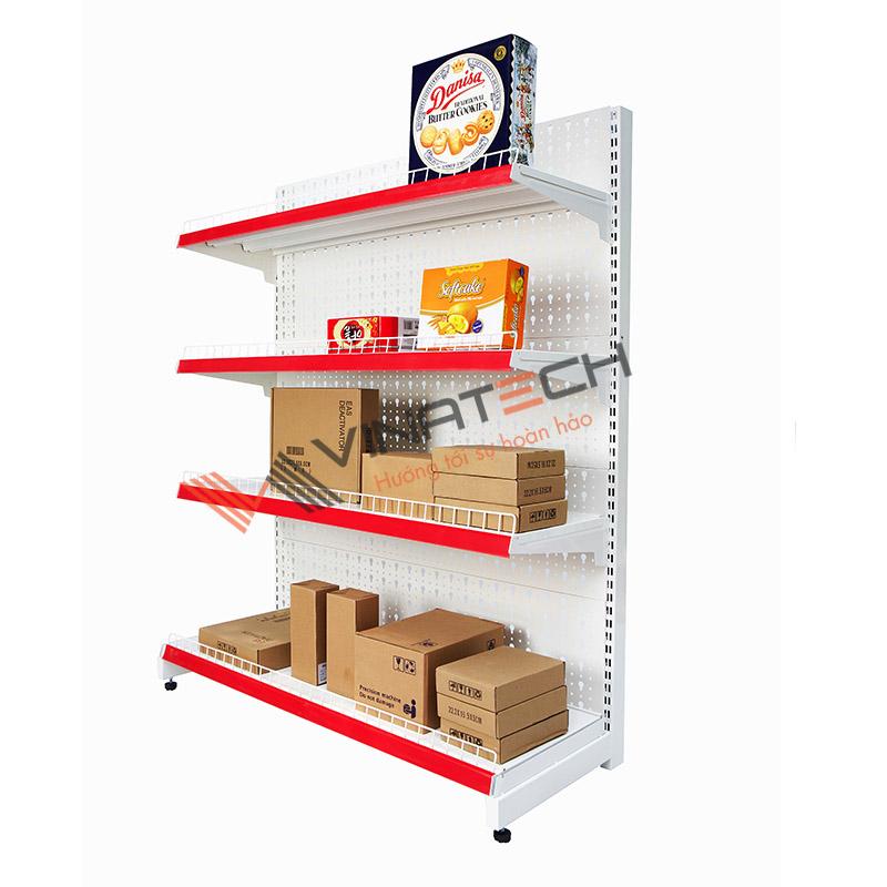 Kệ đơn siêu thị tôn đục lỗ 120cm - 150cm