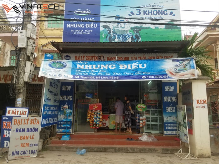 Lắp đặt cửa hàng tạp hóa cho chị Nhung tại Mê Linh