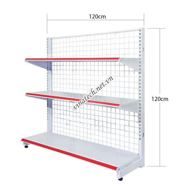 Kệ đơn siêu thị dài 120cm - cao 120cm tôn dày 0.8mm