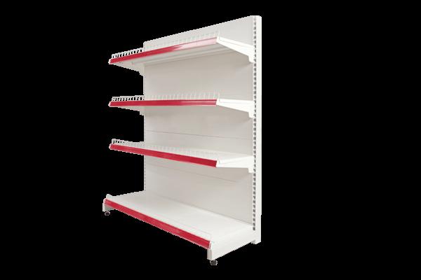 Hình ảnh kệ đơn siêu thị với một mặt để hàng, một mặt để áp vào tường giúp tiết kiệm không gian
