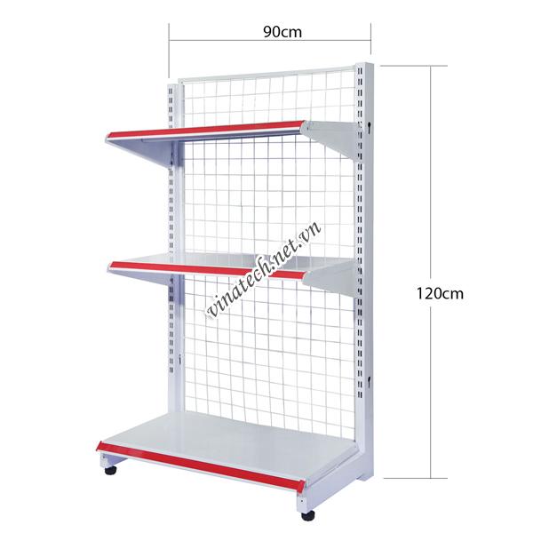 Kệ đơn siêu thị dài 90cm - cao 120cm tôn dày 0.8mm