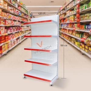 Kệ đơn siêu thị tôn đục lỗ 120cm - 180cm
