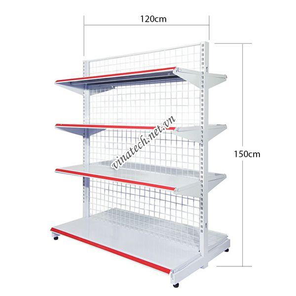 Kệ đôi siêu thị dài 120cm - cao 150cm tôn dày 0.8mm