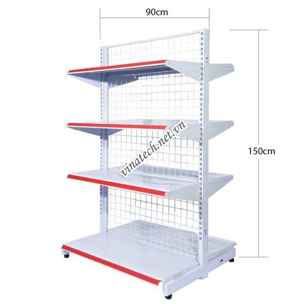 Kệ đôi siêu thị dài 90cm - cao 150cm tôn dày 0.8mm