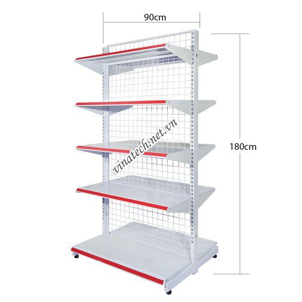 Kệ đôi siêu thị dài 90cm - cao 180cm tôn dày 0.8mm