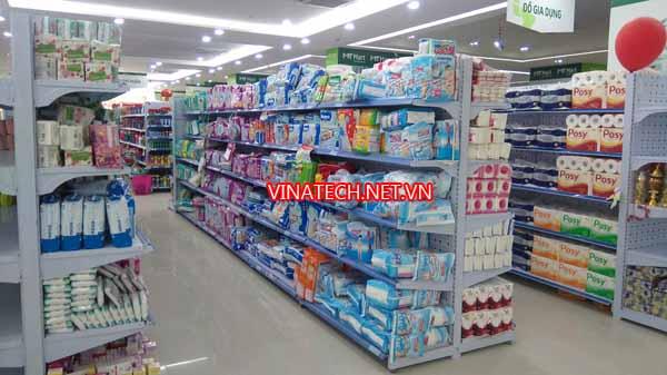 Lắp đặt kệ siêu thị cho siêu thị MT Mart Linh Đàm