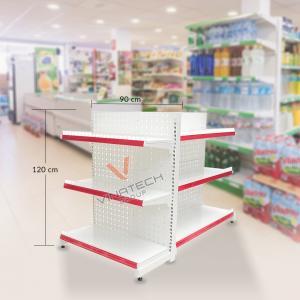 Kệ đôi siêu thị tôn đục lỗ 90cm - 120cm