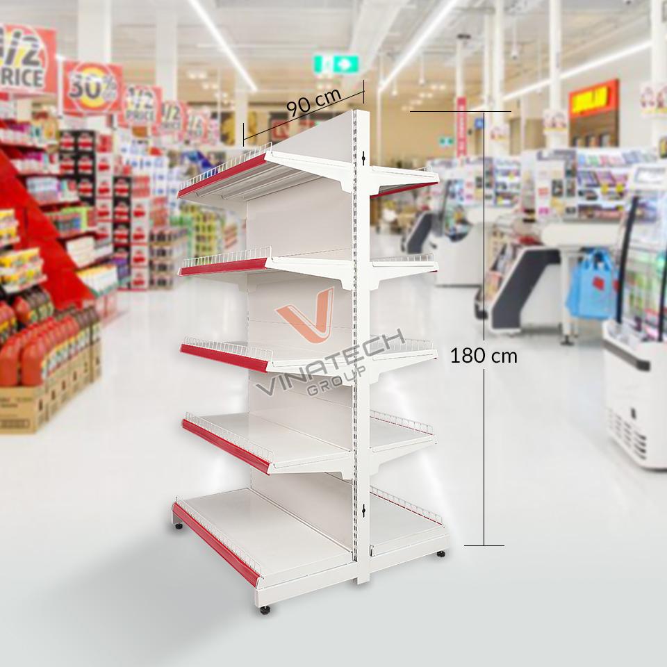 Kệ siêu thị đôi tôn liền 90cm - 180cm