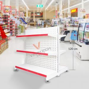 Kệ đôi siêu thị tôn đục lỗ 120cm - 120cm
