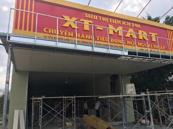 Lắp đặt giá kệ đẹp cho siêu thị XT Mart tại Bình Phước